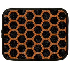 HEXAGON2 BLACK MARBLE & RUSTED METAL (R) Netbook Case (XXL)