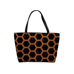 HEXAGON2 BLACK MARBLE & RUSTED METAL (R) Shoulder Handbags