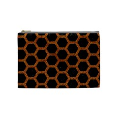 Hexagon2 Black Marble & Rusted Metal (r) Cosmetic Bag (medium)  by trendistuff