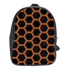 HEXAGON2 BLACK MARBLE & RUSTED METAL (R) School Bag (Large)