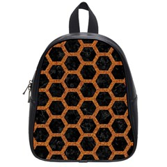 HEXAGON2 BLACK MARBLE & RUSTED METAL (R) School Bag (Small)