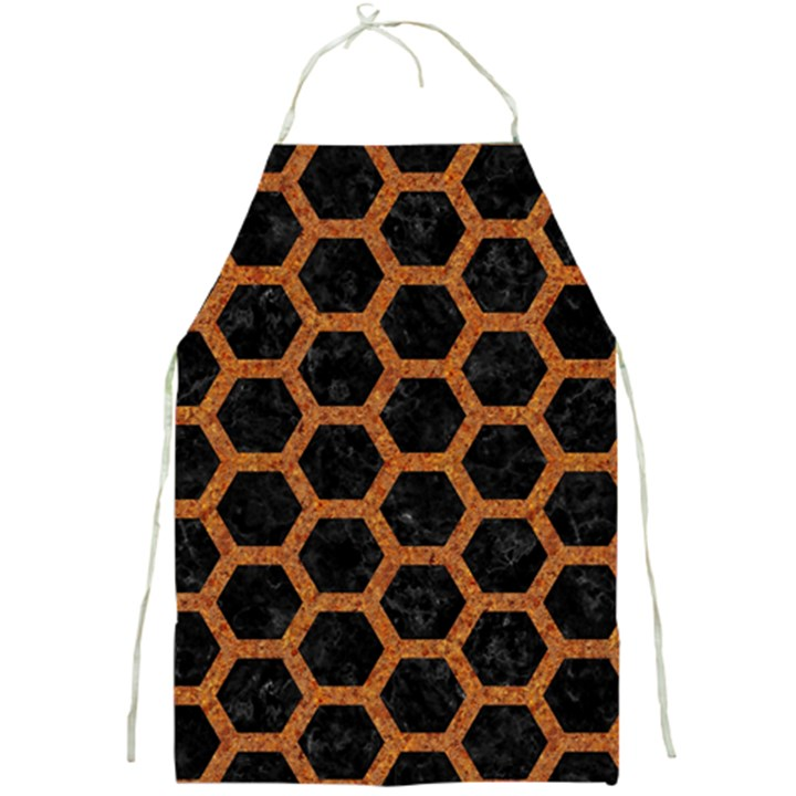 HEXAGON2 BLACK MARBLE & RUSTED METAL (R) Full Print Aprons