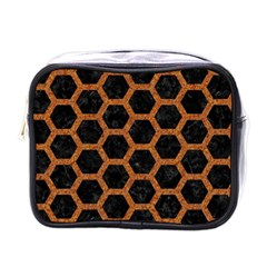 HEXAGON2 BLACK MARBLE & RUSTED METAL (R) Mini Toiletries Bags