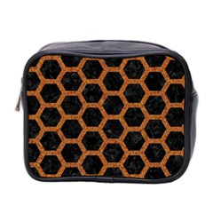 HEXAGON2 BLACK MARBLE & RUSTED METAL (R) Mini Toiletries Bag 2-Side