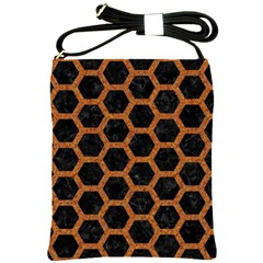 HEXAGON2 BLACK MARBLE & RUSTED METAL (R) Shoulder Sling Bags