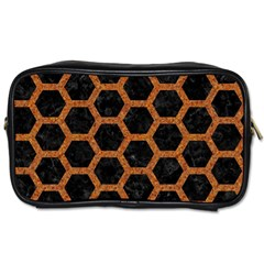 HEXAGON2 BLACK MARBLE & RUSTED METAL (R) Toiletries Bags 2-Side