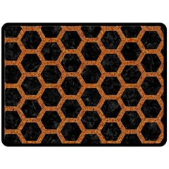 HEXAGON2 BLACK MARBLE & RUSTED METAL (R) Fleece Blanket (Large)
