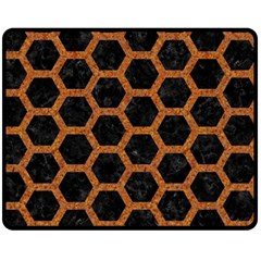 HEXAGON2 BLACK MARBLE & RUSTED METAL (R) Fleece Blanket (Medium)