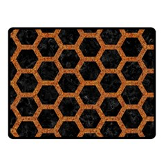 HEXAGON2 BLACK MARBLE & RUSTED METAL (R) Fleece Blanket (Small)