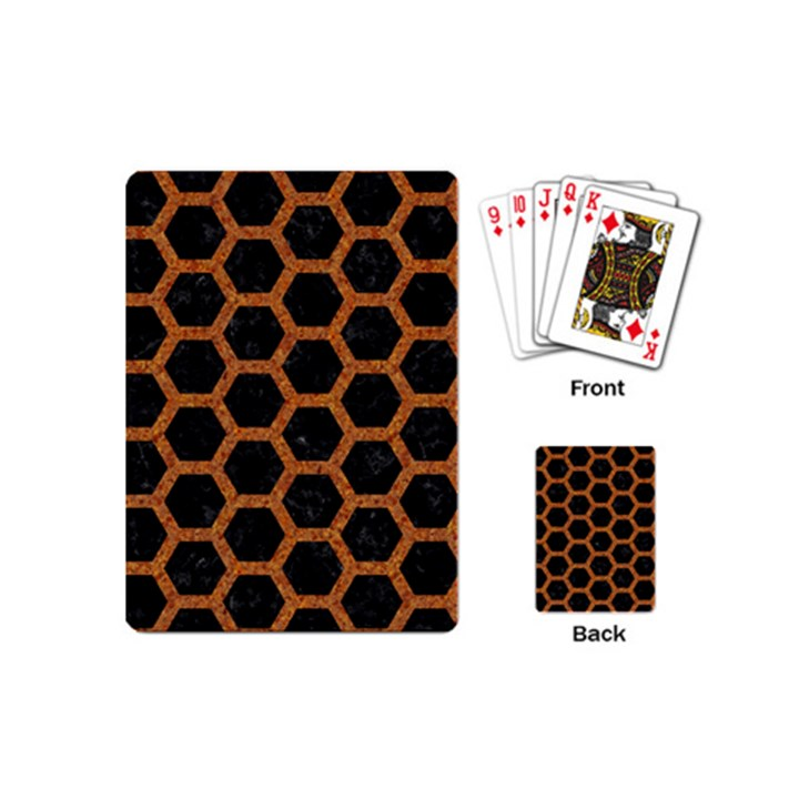 HEXAGON2 BLACK MARBLE & RUSTED METAL (R) Playing Cards (Mini)