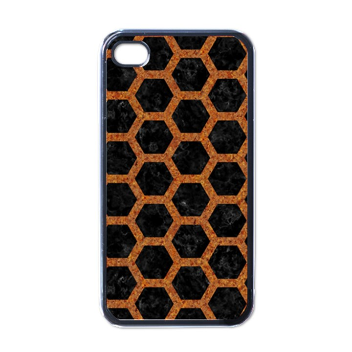 HEXAGON2 BLACK MARBLE & RUSTED METAL (R) Apple iPhone 4 Case (Black)