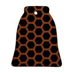 HEXAGON2 BLACK MARBLE & RUSTED METAL (R) Ornament (Bell)