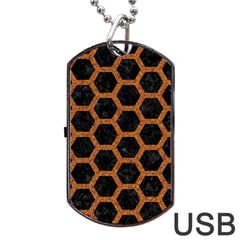 HEXAGON2 BLACK MARBLE & RUSTED METAL (R) Dog Tag USB Flash (One Side)