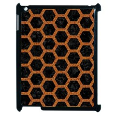 HEXAGON2 BLACK MARBLE & RUSTED METAL (R) Apple iPad 2 Case (Black)