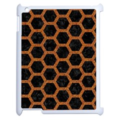 HEXAGON2 BLACK MARBLE & RUSTED METAL (R) Apple iPad 2 Case (White)