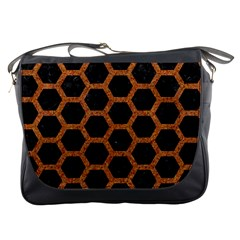 Hexagon2 Black Marble & Rusted Metal (r) Messenger Bags by trendistuff