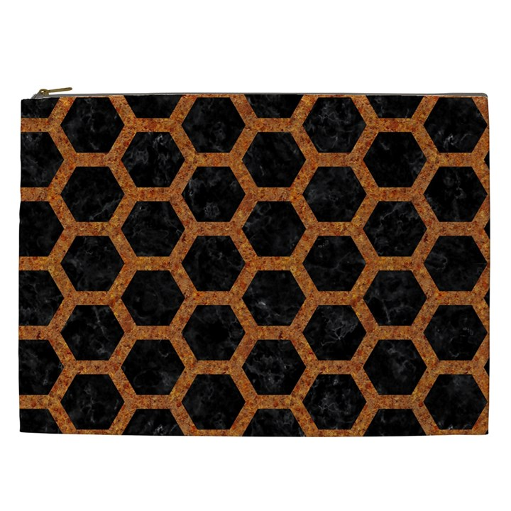 HEXAGON2 BLACK MARBLE & RUSTED METAL (R) Cosmetic Bag (XXL)
