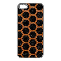 HEXAGON2 BLACK MARBLE & RUSTED METAL (R) Apple iPhone 5 Case (Silver)