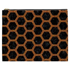 HEXAGON2 BLACK MARBLE & RUSTED METAL (R) Cosmetic Bag (XXXL)