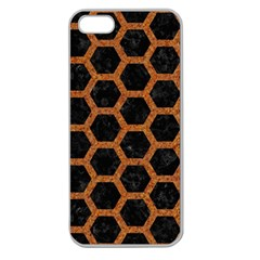HEXAGON2 BLACK MARBLE & RUSTED METAL (R) Apple Seamless iPhone 5 Case (Clear)