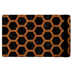 HEXAGON2 BLACK MARBLE & RUSTED METAL (R) Apple iPad 2 Flip Case