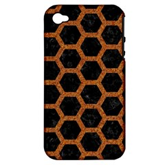Hexagon2 Black Marble & Rusted Metal (r) Apple Iphone 4/4s Hardshell Case (pc+silicone) by trendistuff