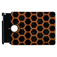 HEXAGON2 BLACK MARBLE & RUSTED METAL (R) Apple iPad 3/4 Flip 360 Case