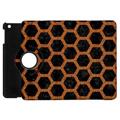 HEXAGON2 BLACK MARBLE & RUSTED METAL (R) Apple iPad Mini Flip 360 Case
