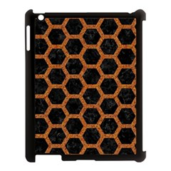 HEXAGON2 BLACK MARBLE & RUSTED METAL (R) Apple iPad 3/4 Case (Black)