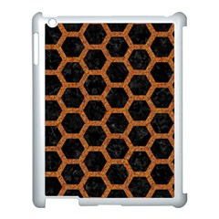 HEXAGON2 BLACK MARBLE & RUSTED METAL (R) Apple iPad 3/4 Case (White)