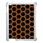 HEXAGON2 BLACK MARBLE & RUSTED METAL (R) Apple iPad 3/4 Case (White) Front