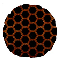 HEXAGON2 BLACK MARBLE & RUSTED METAL (R) Large 18  Premium Round Cushions