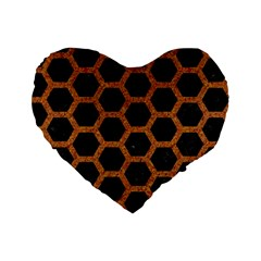 HEXAGON2 BLACK MARBLE & RUSTED METAL (R) Standard 16  Premium Heart Shape Cushions
