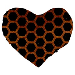 HEXAGON2 BLACK MARBLE & RUSTED METAL (R) Large 19  Premium Heart Shape Cushions