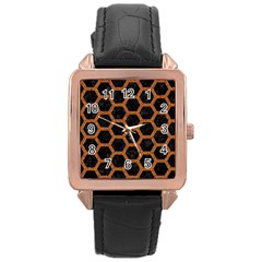 HEXAGON2 BLACK MARBLE & RUSTED METAL (R) Rose Gold Leather Watch