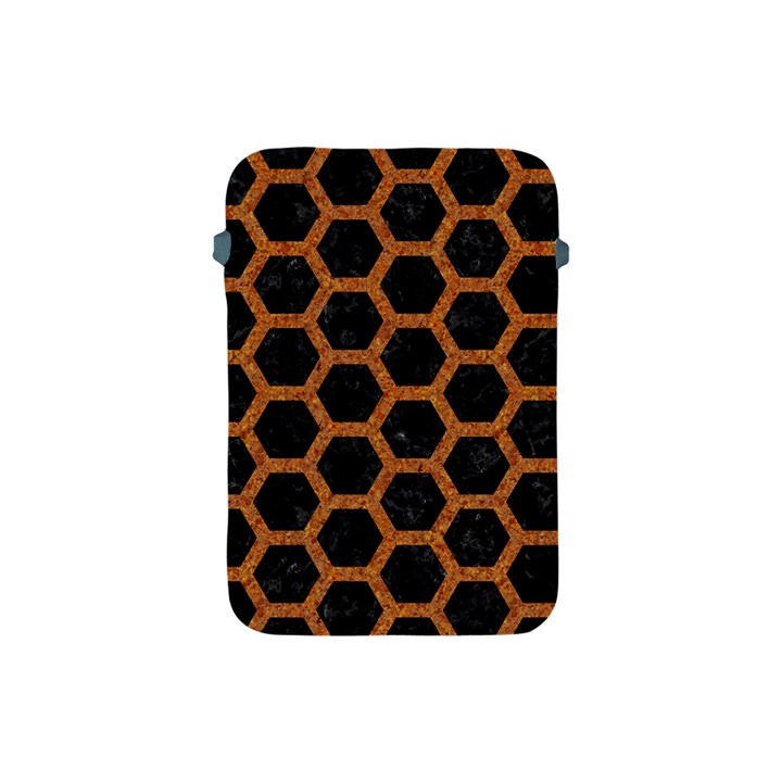 HEXAGON2 BLACK MARBLE & RUSTED METAL (R) Apple iPad Mini Protective Soft Cases