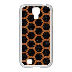 HEXAGON2 BLACK MARBLE & RUSTED METAL (R) Samsung GALAXY S4 I9500/ I9505 Case (White)