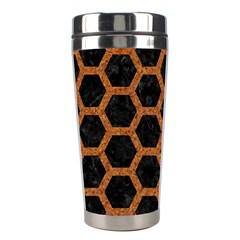 HEXAGON2 BLACK MARBLE & RUSTED METAL (R) Stainless Steel Travel Tumblers