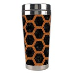 HEXAGON2 BLACK MARBLE & RUSTED METAL (R) Stainless Steel Travel Tumblers Center