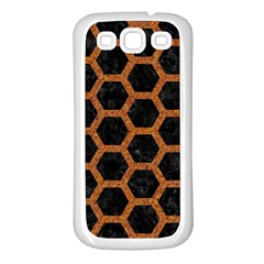 HEXAGON2 BLACK MARBLE & RUSTED METAL (R) Samsung Galaxy S3 Back Case (White)