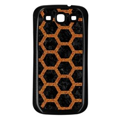 HEXAGON2 BLACK MARBLE & RUSTED METAL (R) Samsung Galaxy S3 Back Case (Black)