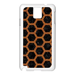 HEXAGON2 BLACK MARBLE & RUSTED METAL (R) Samsung Galaxy Note 3 N9005 Case (White)