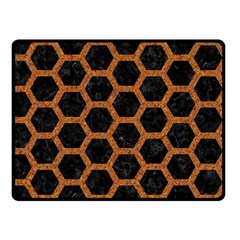 HEXAGON2 BLACK MARBLE & RUSTED METAL (R) Double Sided Fleece Blanket (Small)