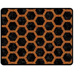 HEXAGON2 BLACK MARBLE & RUSTED METAL (R) Double Sided Fleece Blanket (Medium)