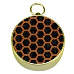 HEXAGON2 BLACK MARBLE & RUSTED METAL (R) Gold Compasses Front