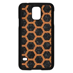 HEXAGON2 BLACK MARBLE & RUSTED METAL (R) Samsung Galaxy S5 Case (Black)