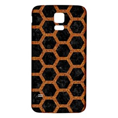 HEXAGON2 BLACK MARBLE & RUSTED METAL (R) Samsung Galaxy S5 Back Case (White)
