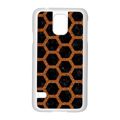HEXAGON2 BLACK MARBLE & RUSTED METAL (R) Samsung Galaxy S5 Case (White)