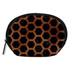 HEXAGON2 BLACK MARBLE & RUSTED METAL (R) Accessory Pouches (Medium)
