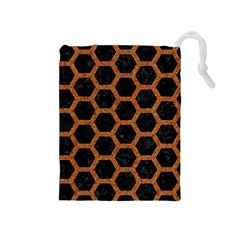 HEXAGON2 BLACK MARBLE & RUSTED METAL (R) Drawstring Pouches (Medium)